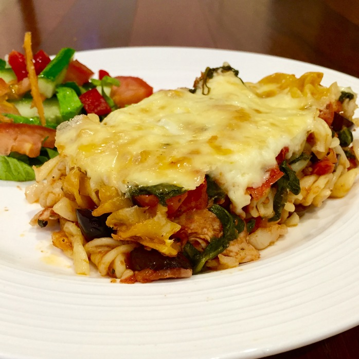Chicken, Bacon, Spinach, Olive Pasta Bake
