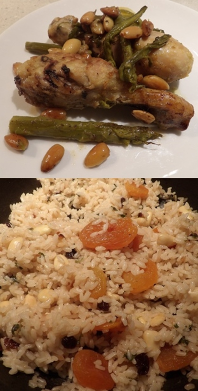 Chicken Asparagus And Almonds With A Rice And Apricot