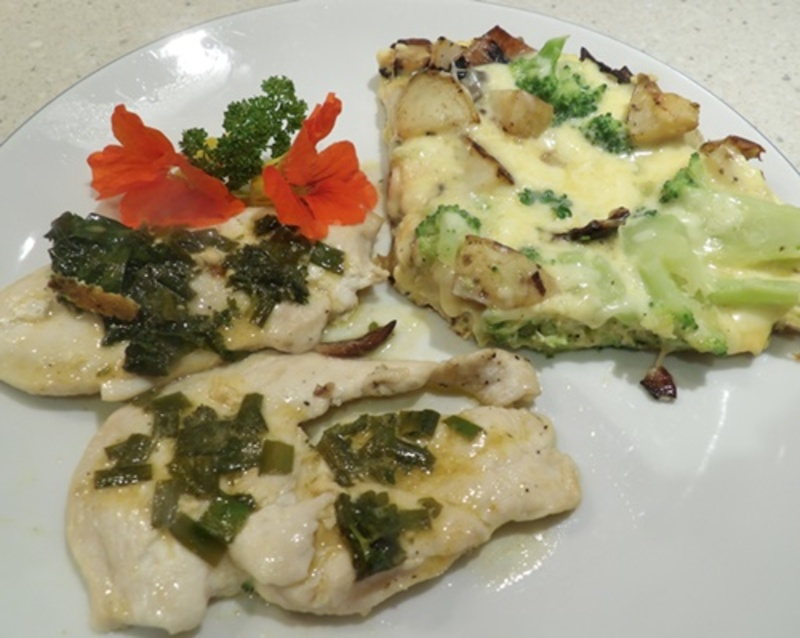 chicken,diane,with,broccoli,and,potato,frittata