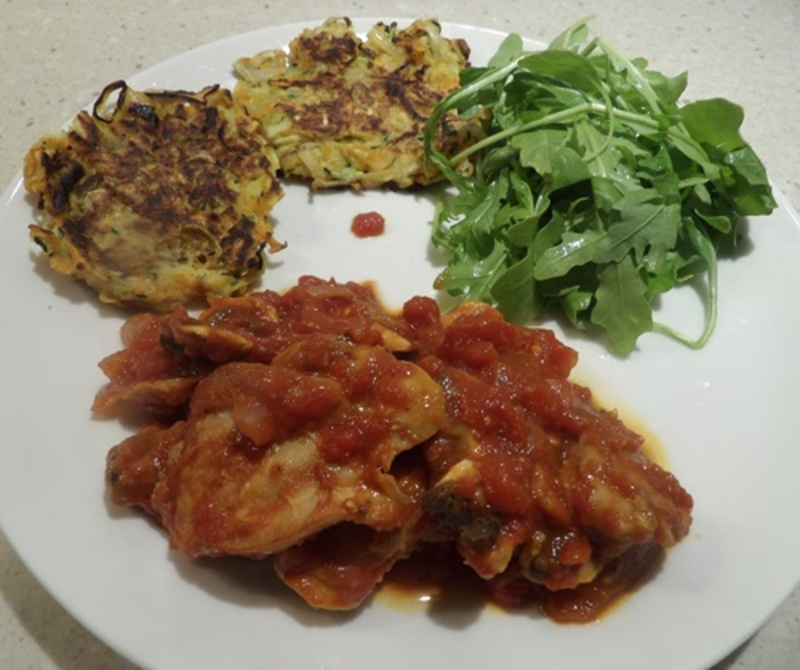 chicken,in,red,wine,with,tricolour,latkes  - Chicken in Tomatoes with Three Coloured Latkes