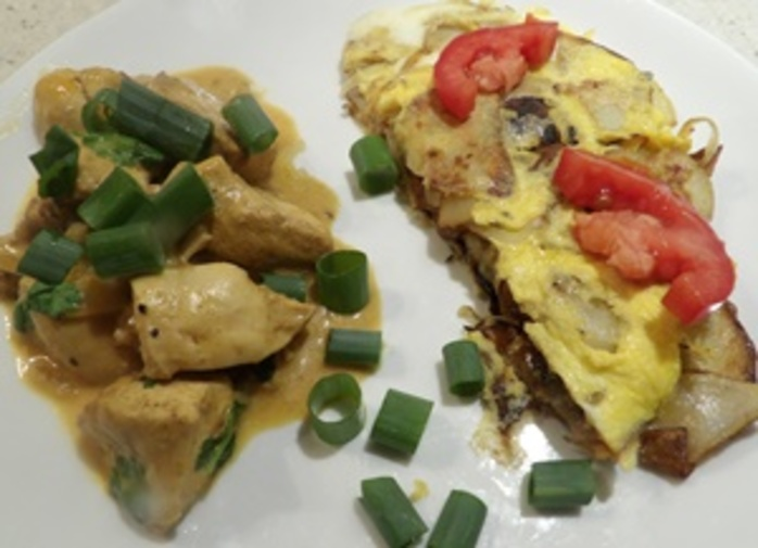chicken,masala,with,spanish,potato,omelette