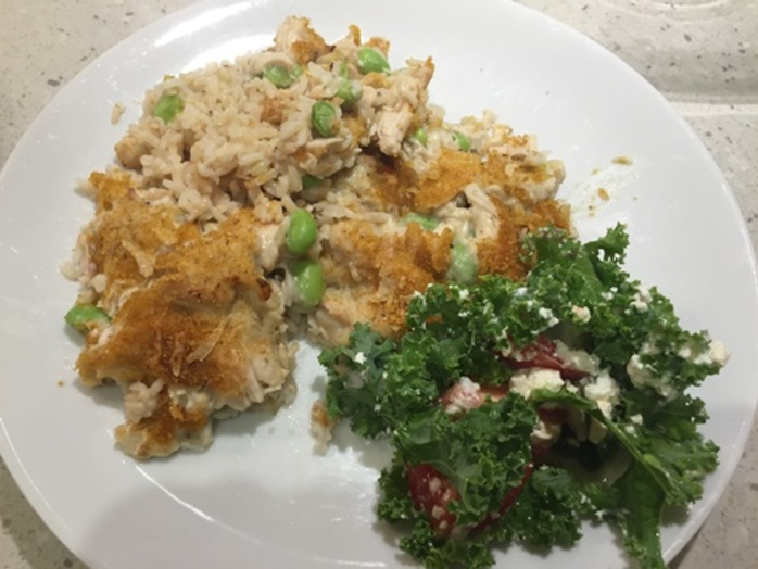 chicken,rice,casserole,with,kale,salad