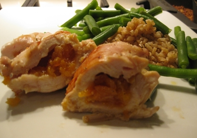 chicken,stuffed,apricots,honey,butter