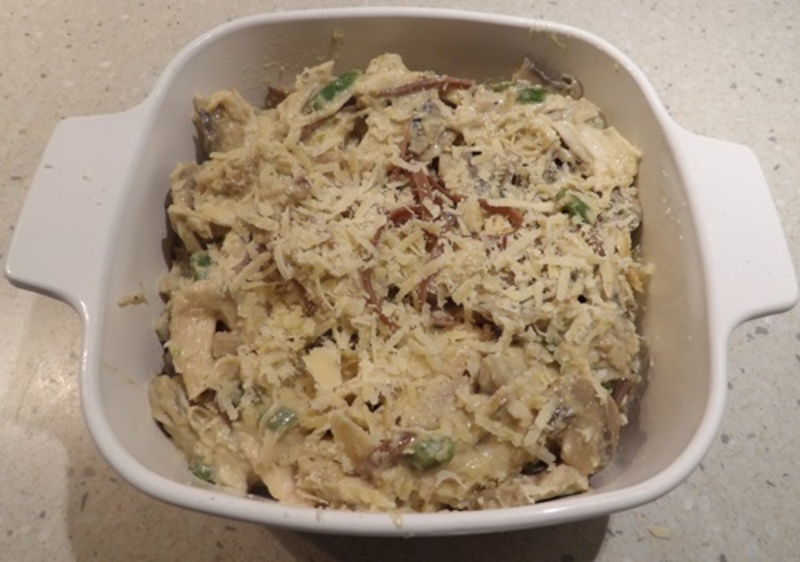 mixing,mushrooms,and,green,pepper  - Chicken Tetrazzini