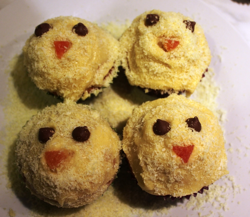 icing  - Easter Chick Cupcakes