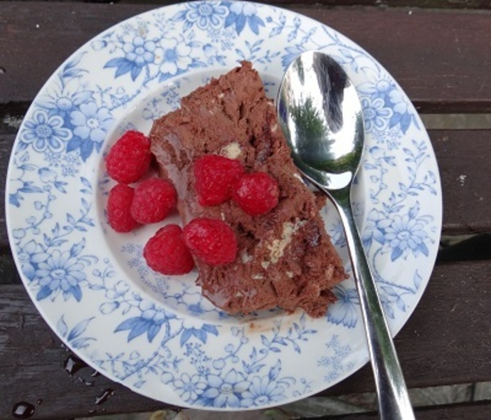 Chocolate Meringue Semifreddo, Raspberries