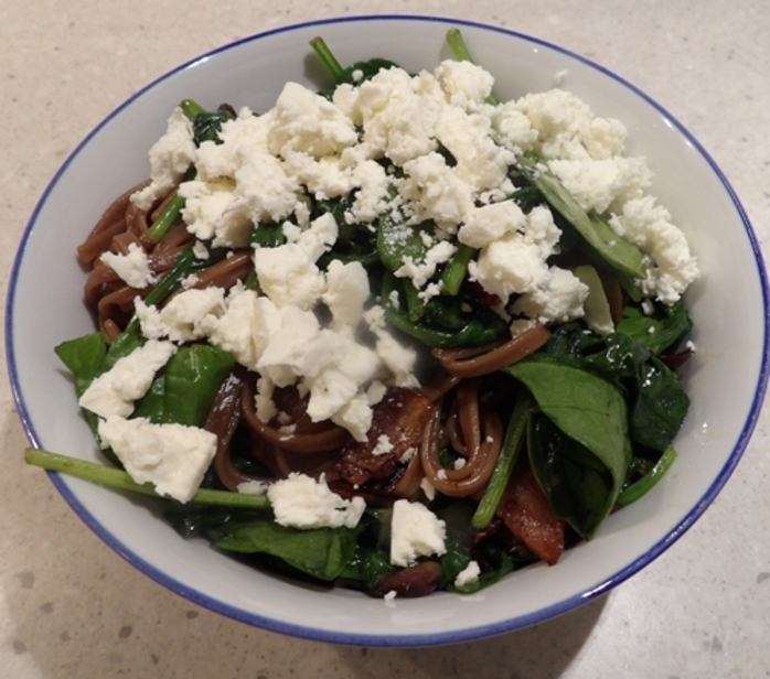 chocolate,tagliatelle,with,spinach,bacon,and,feta