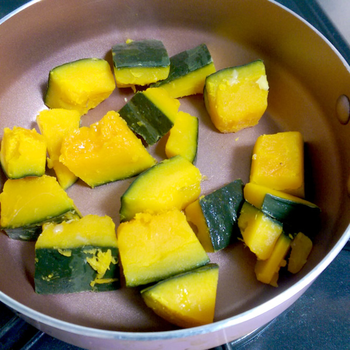 Chopped and cooked Japanese pumpkin.