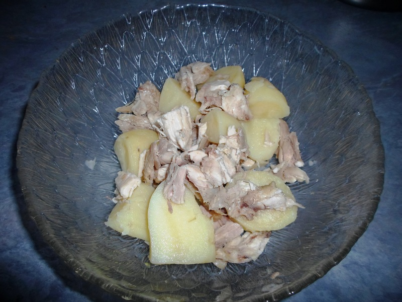 Combine Chicken And Potatoes In Bowl  - Chicken Potato Salad With Honey Mustard Dressing