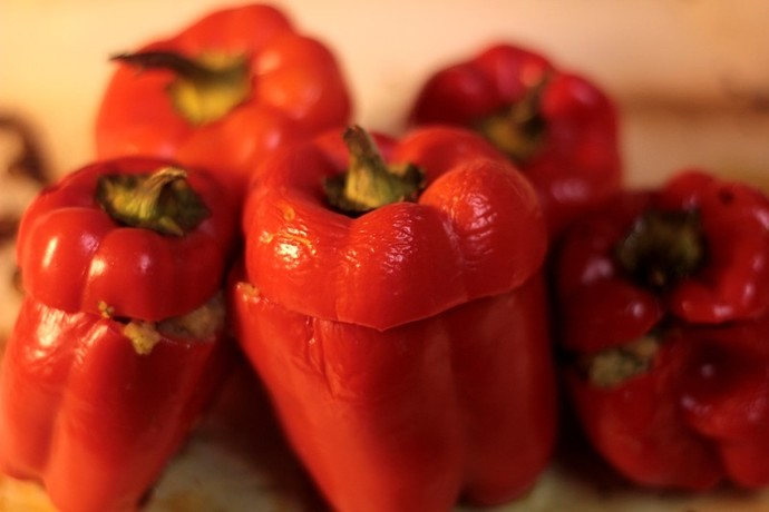 Cooked stuffed mini capsicums