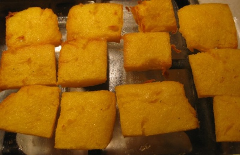 cooked,polenta,squares  - Lovely Legs With Home Made Walnut Pesto, Pomegranate And Baked Polenta Squares With Parmesan Cheese