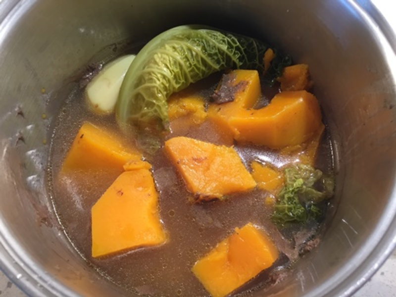 cooked,vegetables,in,soup  - Creamy Pumpkin and Bone Soup