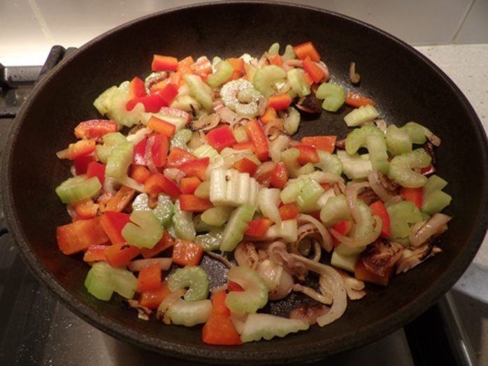 cooking,onions,celery,red,capsicum,for,tofu,tartlets