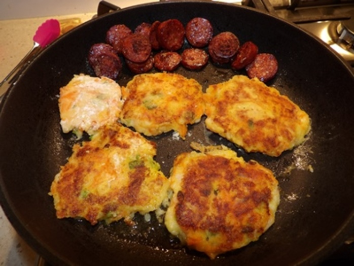cooking,potato,pancakes,with,chorizo