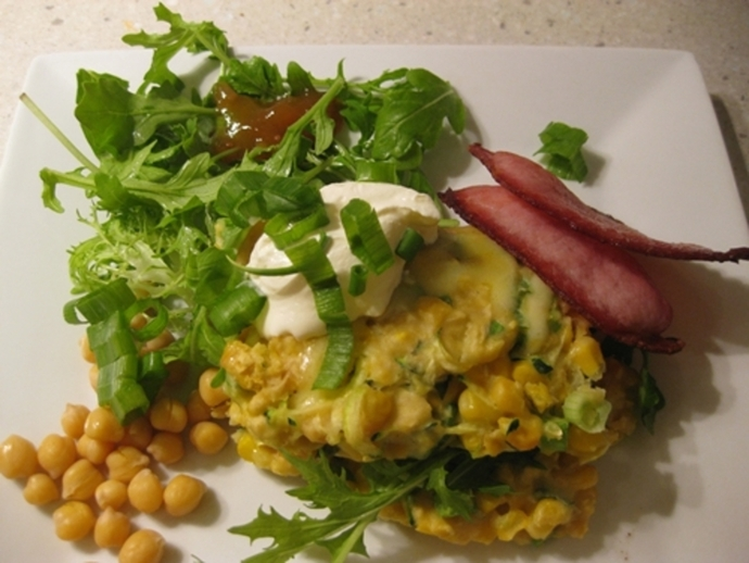 plated,corn,chickpea,zucchini,fingers