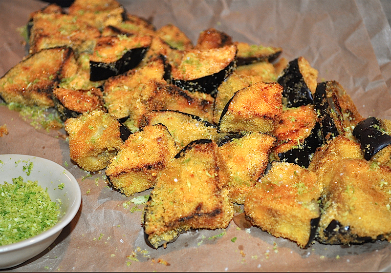 Crispy Eggplant Triangles With Lime Salt