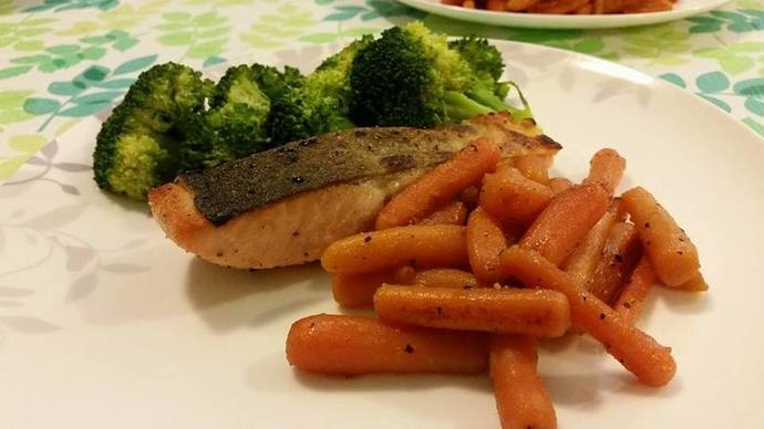 Crispy Skin Salmon with Broccoli & Honey Glazed Baby Carrots