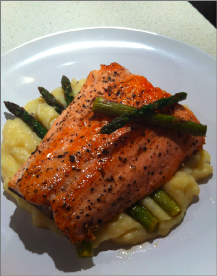 Crispy Skinned Salmon with Parsnip and Potato Puree and Sauteed Asparagus