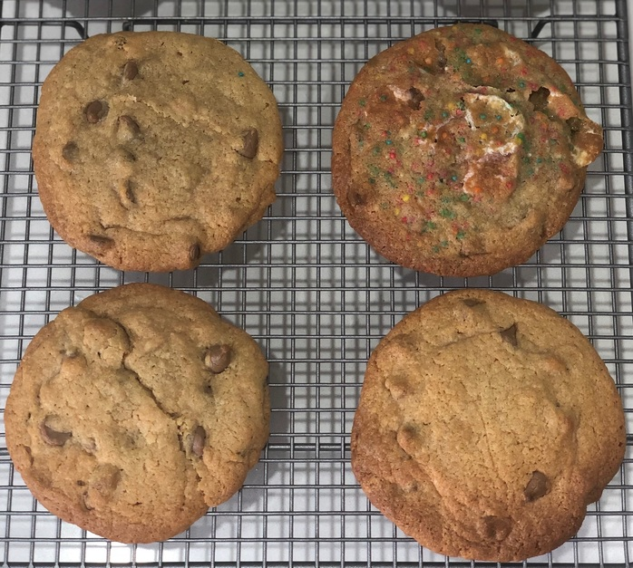 Crispy chewy cookies just baked