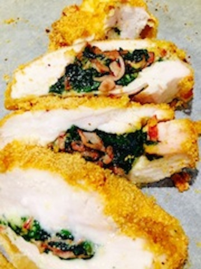Crumbed Chicken Stuffed With Spinach, Ham and Cheese