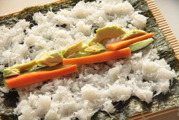Folding sushi roll, healthy raw sushi