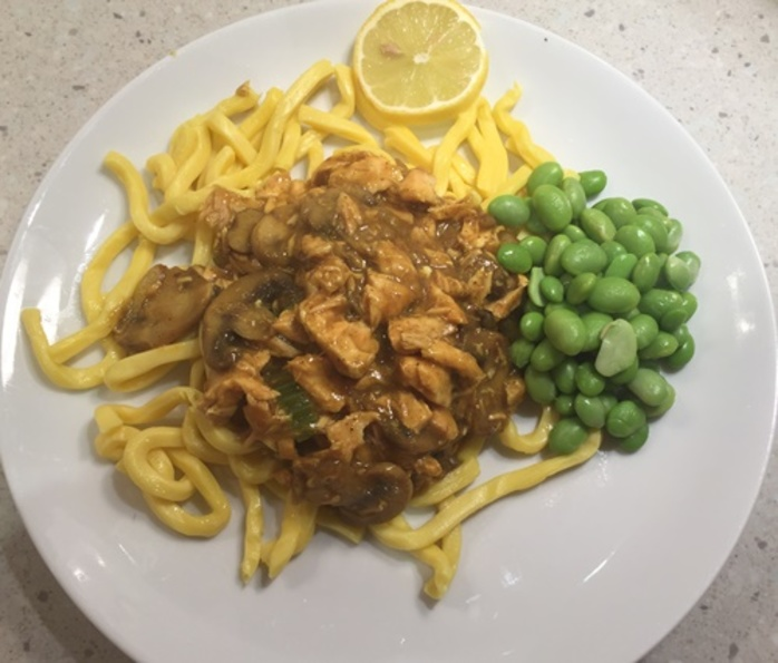 curried,salmon,on,noodles
