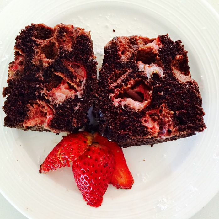 Cut Chocolate Strawberry Cake