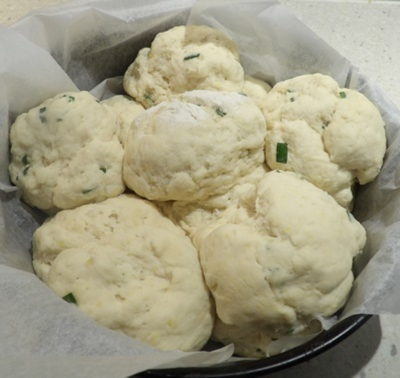 daisy,pattern,bread,after,rising  - Baked Potato and Chive Dairy Free Pull Apart Rolls
