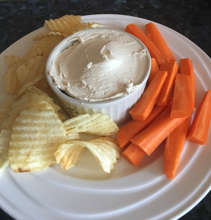 Dip with chips and carrots
