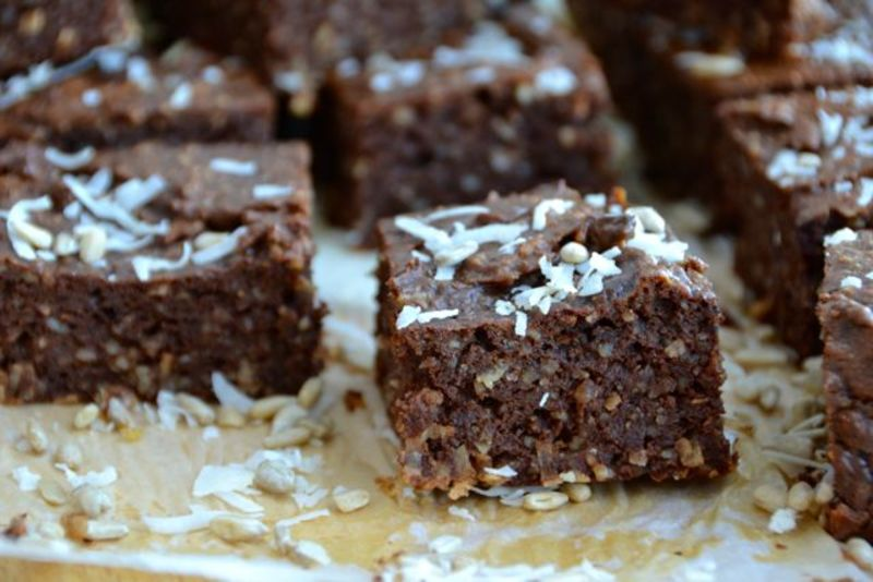 Healthy Nut Free Brownies with Sunflower Seeds & Shredded Coconut