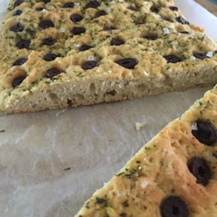 Easy olive rosemary focaccia sliced