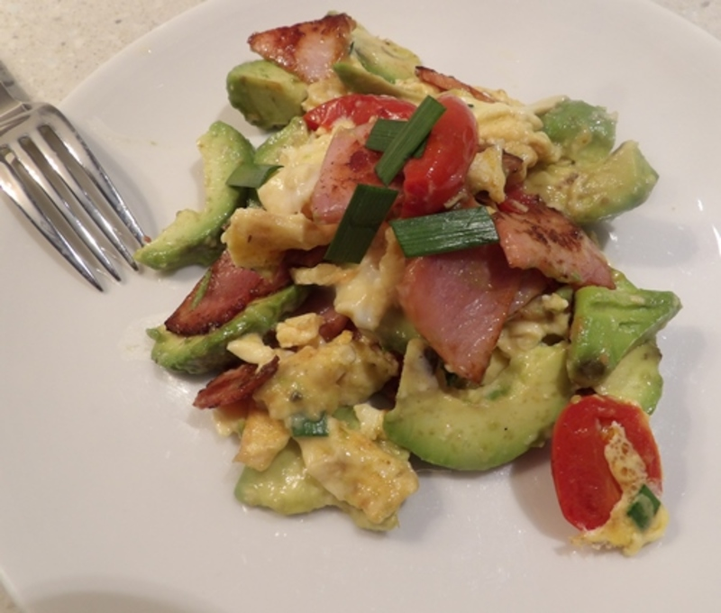 easy,avocado,bacon,scrambled,eggs