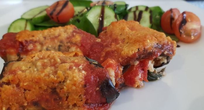 Eggplant Cannelloni with Pine Nut Sauce