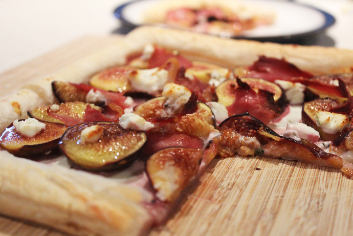 fig tart, fig and goat cheese, pancetta goat cheese, fresh figs