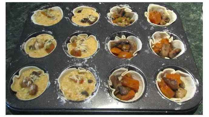 Mushroom and Sweet Potato Tarts