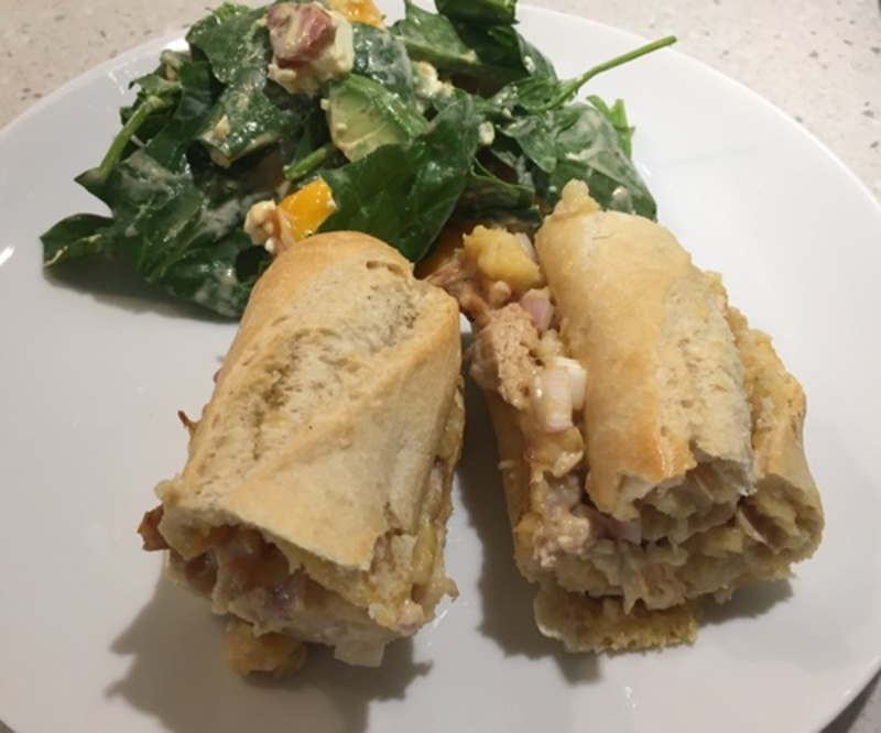 filled,baguette,with,a,mango,and,avocado,salad  - Chicken and Cheese Baguette with a Mango and Avocado Salad