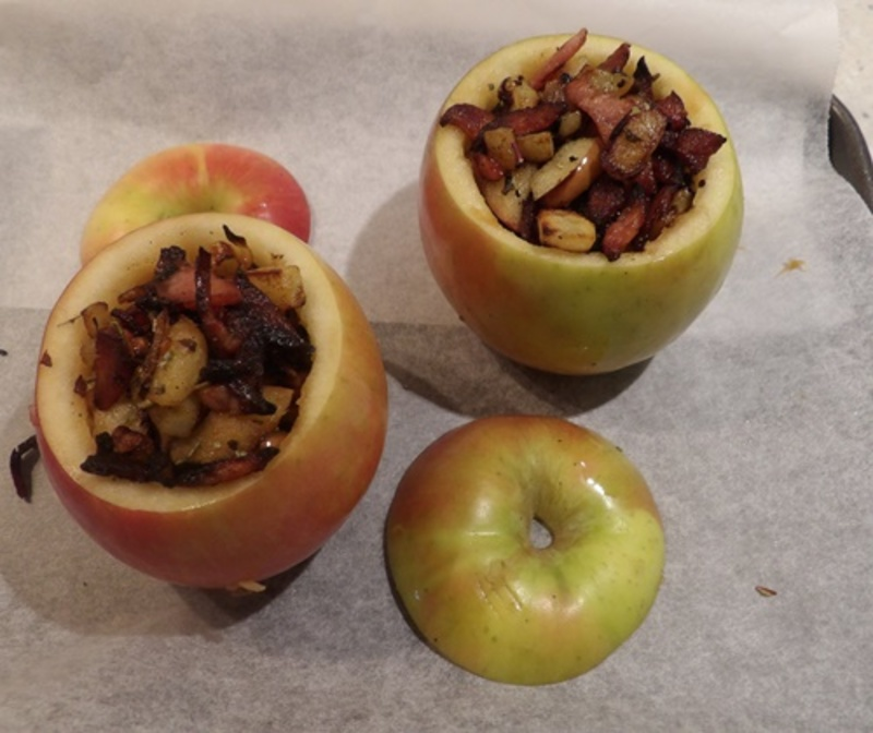 preparing,apples,for,filling  - Fishcakes with Smoked Salmon and Potato Stuffed Apples