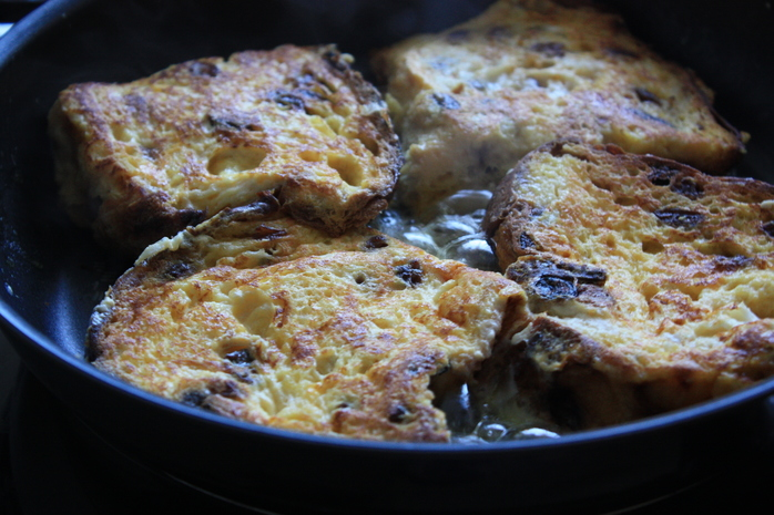 Panettone French Toast drizzled with mable syrup