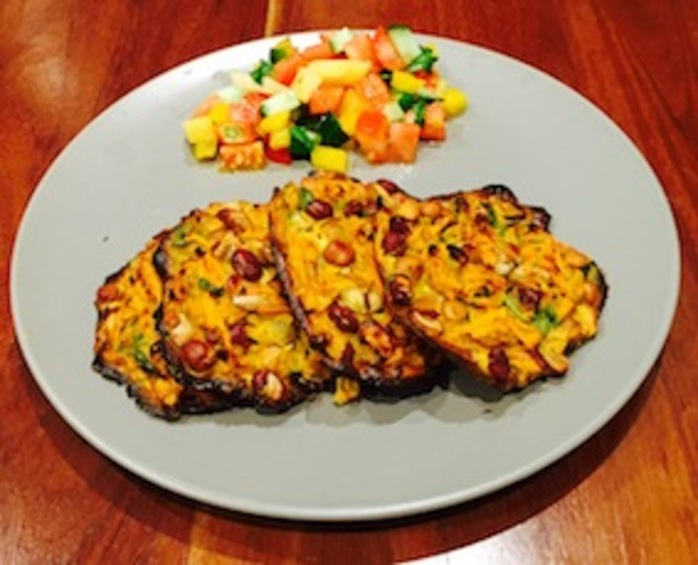 Four Bean And Sweet Potato Fritter With Pineapple Salsa