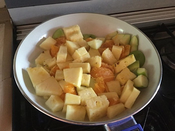 Fruit salad, stir fry, pineapple, pumpkin seeds