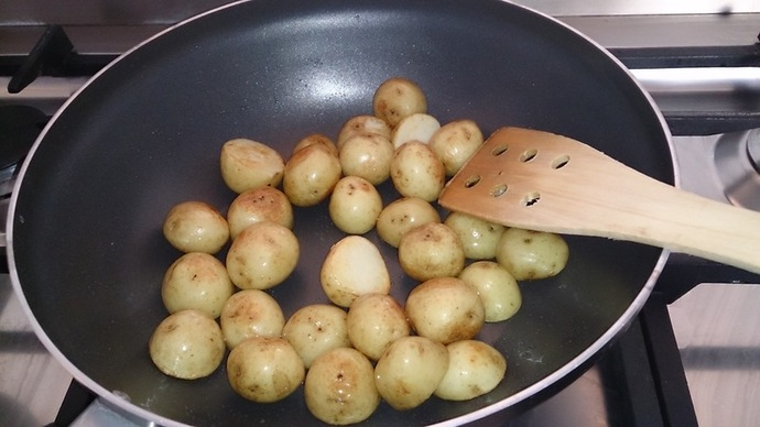 Par-boil potatoes