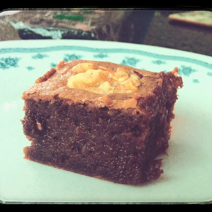 Baileys brownies out of the oven