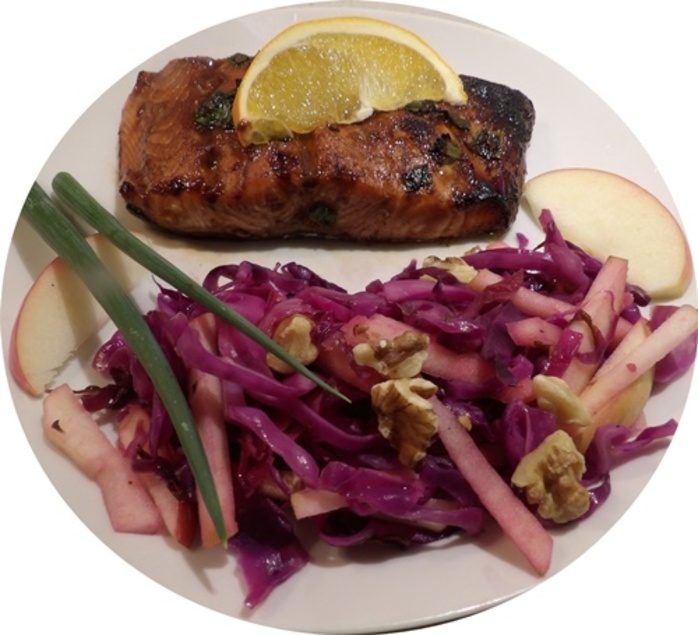 ginger,honey,salmon,with,red,cabbage,salad