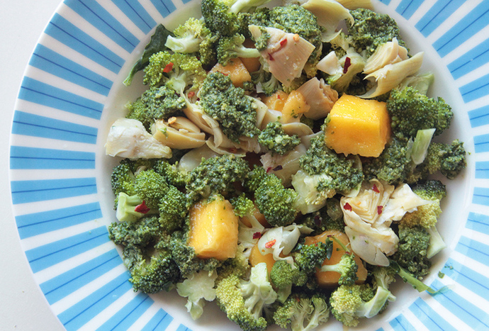 Delectable mango, broccoli and pesto salad