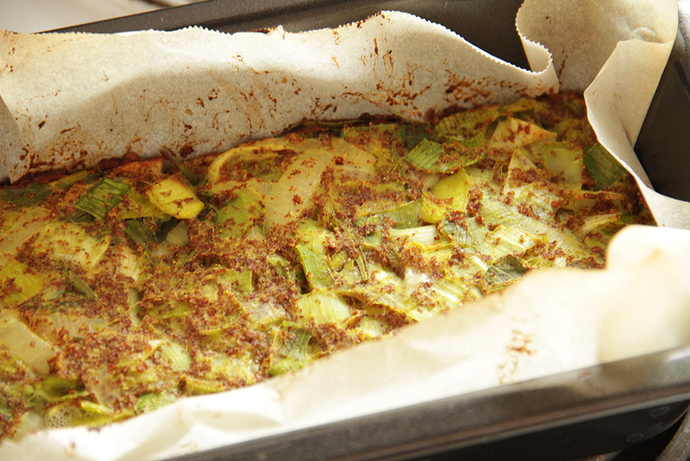 Healthy gluten free vegetable loaf, delicious leek slice