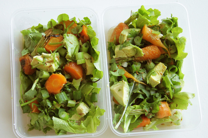 Roast carrot, avocado, shallot, coriander, lettuce, rocket salad