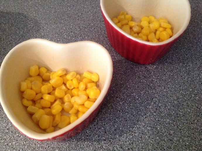 Heart ramekins, sweetcorn
