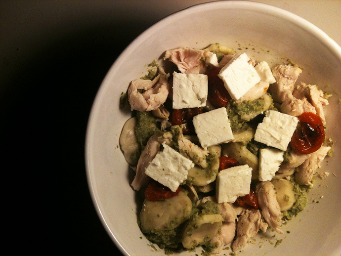 Homemade orecchiette, pesto, roasted tomato, chicken, feta