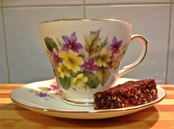 Hot cross bun slice and teacup