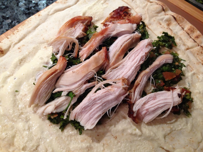 BBQ Chicken with Tabouli and Garlic Sauce Wrap